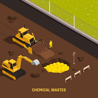 Ilustração isométrica de resíduos químicos