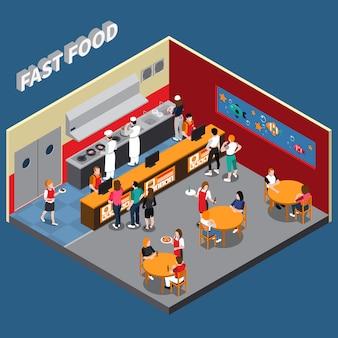 Ilustração isométrica de restaurante fast food