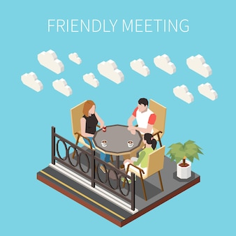 Ilustração isométrica de reunião amigável