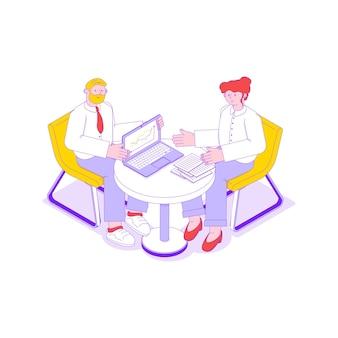 Ilustração isométrica de reunião de negócios com dois funcionários de escritório.