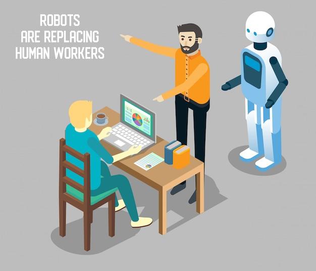Ilustração isométrica de robô vs trabalho humano