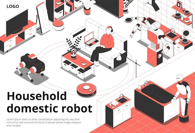 Ilustração isométrica de robôs domésticos domésticos