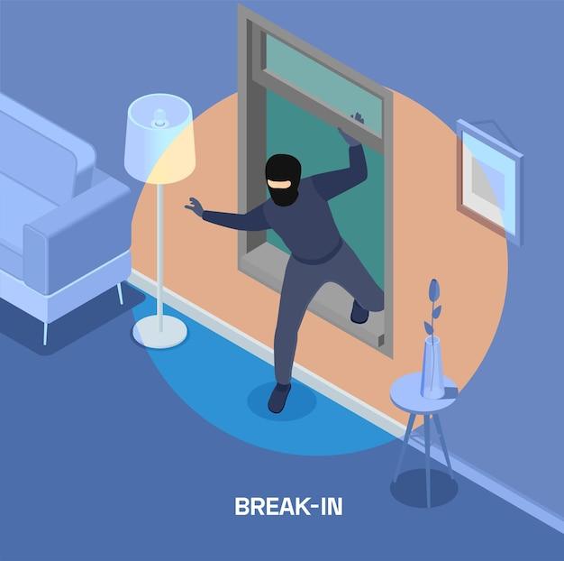 Ilustração isométrica de roubo