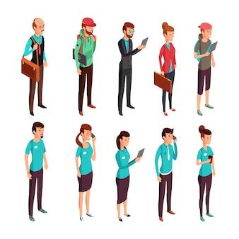 Ilustração isométrica de roupas corporativas. pessoas em pé de vestido aleatório e corporativo. mulher, e, homem, pessoal, ficar, vetorial