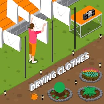 Ilustração isométrica de roupas de secagem