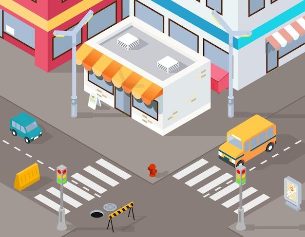 Ilustração isométrica de rua