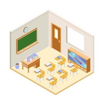 Ilustração isométrica de sala de aula