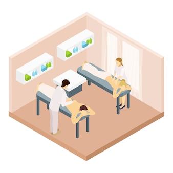 Ilustração isométrica de sala de massagem