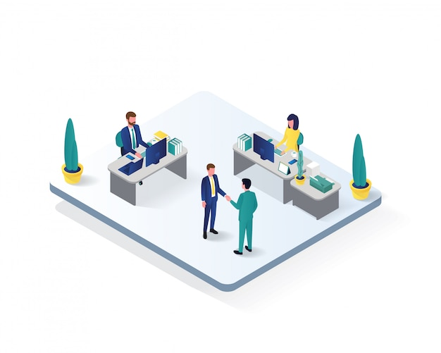 Ilustração isométrica de sala de trabalho de escritório