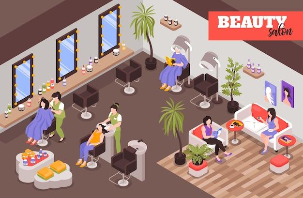 Ilustração isométrica de salão de beleza feminino com clientes da equipe de trabalho sentados nas cadeiras dos clientes ou esperando na zona de descanso da barbearia