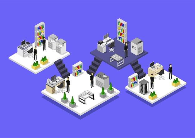 Ilustração isométrica de salas de escritório