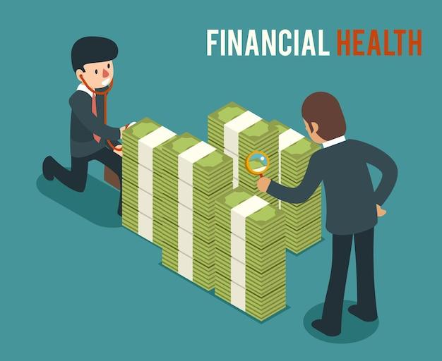 Ilustração isométrica de saúde financeira