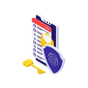 Ilustração isométrica de segurança cibernética com acesso por impressão digital a informações pessoais no smartphone 3d