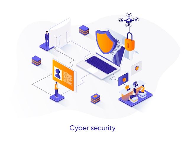 Ilustração isométrica de segurança cibernética com personagens de pessoas