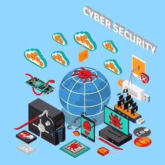 Ilustração isométrica de segurança cibernética