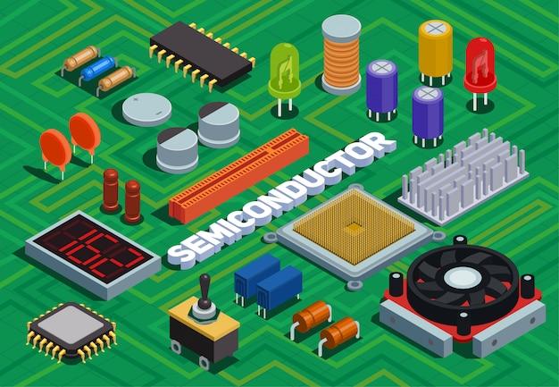 Ilustração isométrica de semicondutores imitou a placa de circuito impresso com diferentes componentes eletrônicos do esquema elétrico