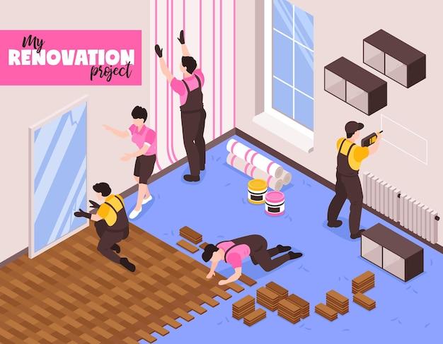 Ilustração isométrica de serviço de conserto de reforma em casa