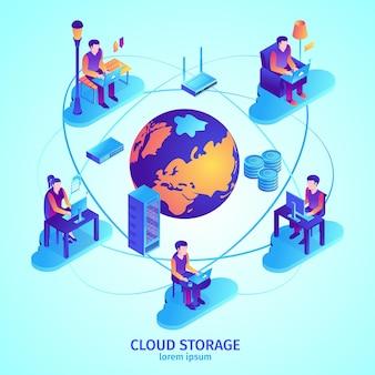 Ilustração isométrica de serviço em nuvem
