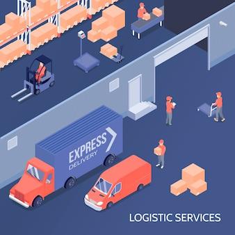 Ilustração isométrica de serviços de logística