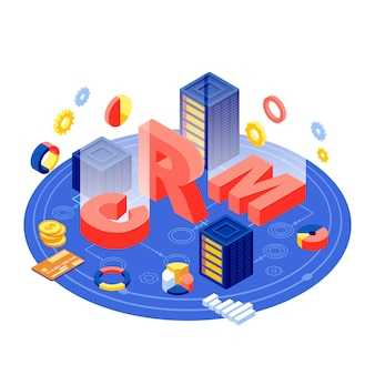 Ilustração isométrica de servidor de crm. software de gerenciamento de relacionamento com o cliente. banco de dados de clientes e tecnologia digital de automação comercial. comércio eletrônico, armazenamento de dados de marketing e conceito 3d de análise
