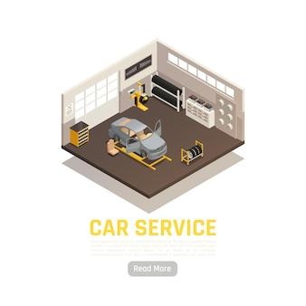 Ilustração isométrica de sistemas de serviço automotivo