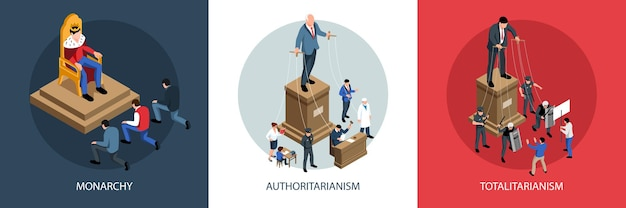 Ilustração isométrica de sistemas políticos