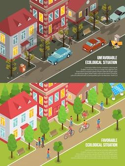 Ilustração isométrica de situação ambiental
