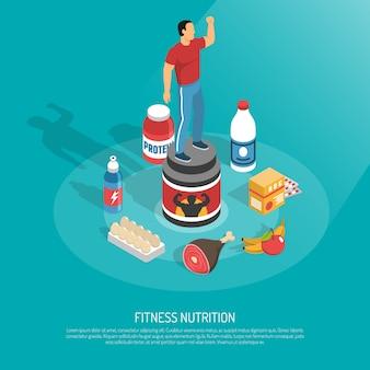 Ilustração isométrica de suplementos nutricionais fitness
