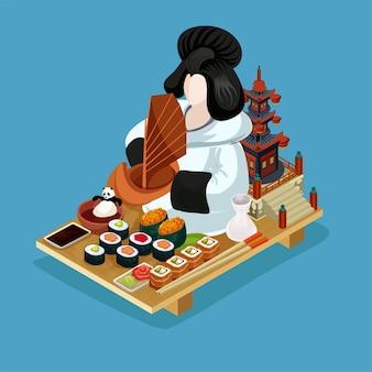 Ilustração isométrica de sushi