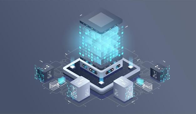 Ilustração isométrica de tecnologia de computador quântico. Vetor Premium