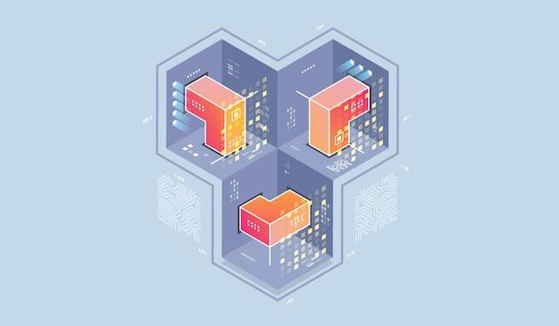 Ilustração isométrica de tecnologia de computador quântico.