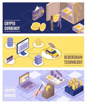 Ilustração isométrica de tecnologia de criptomoeda e blockchain