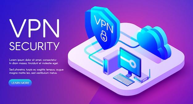 Ilustração isométrica de tecnologia de segurança vpn de software de proteção de dados pessoais digitais