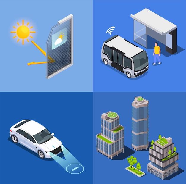 Ilustração isométrica de tecnologias de cidades inteligentes