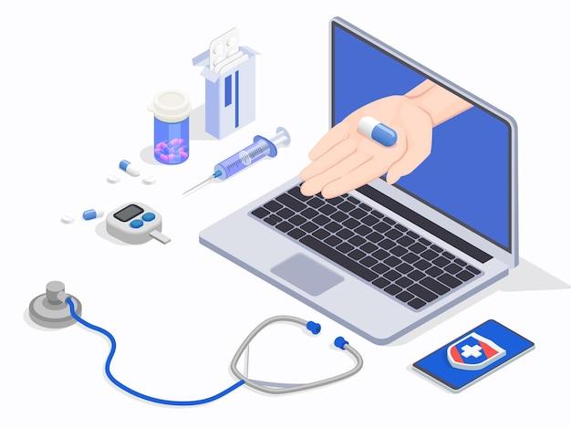 Ilustração isométrica de telemedicina e saúde digital
