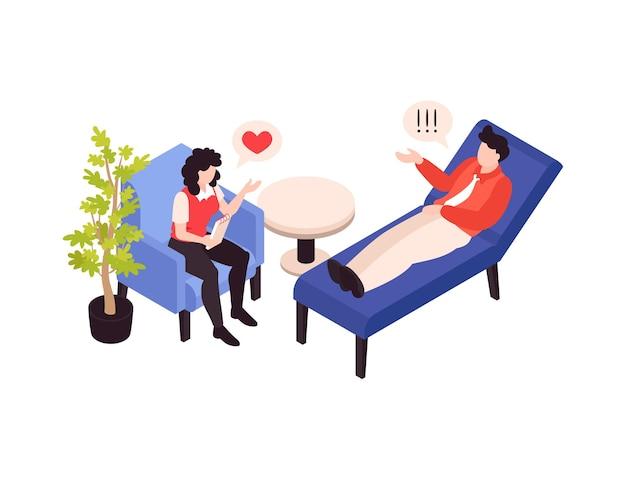 Ilustração isométrica de terapia psicológica