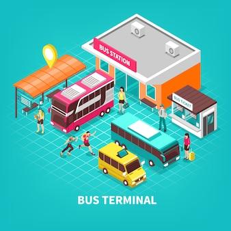 Ilustração isométrica de terminal de ônibus