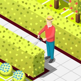 Ilustração isométrica de trabalhador empregado jardineiro