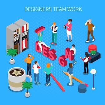 Ilustração isométrica de trabalho em equipe de designers com sapatos e botas