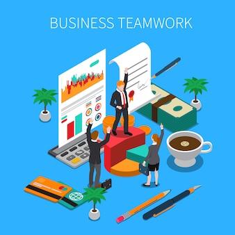 Ilustração isométrica de trabalho em equipe de negócios com símbolos de trabalho e progresso de idéias