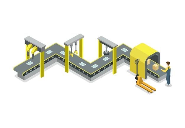 Ilustração isométrica de transportador de correia mecânica