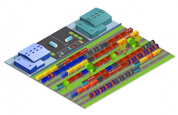 Ilustração isométrica de transporte de carga de ferrovia