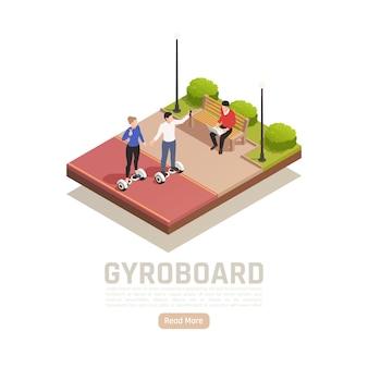 Ilustração isométrica de transporte pessoal eco verde com texto editável de cenário de parque ao ar livre e botão ler mais