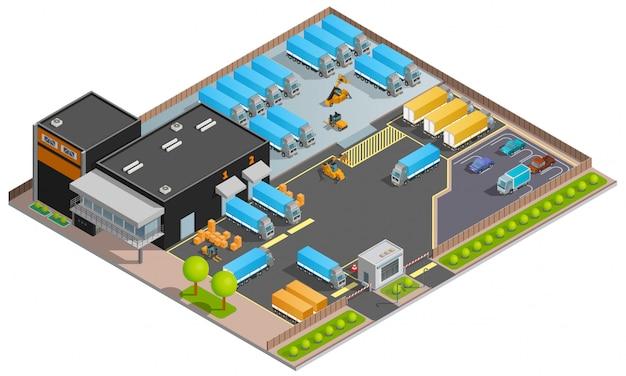 Ilustração isométrica de transporte rodoviário de carga