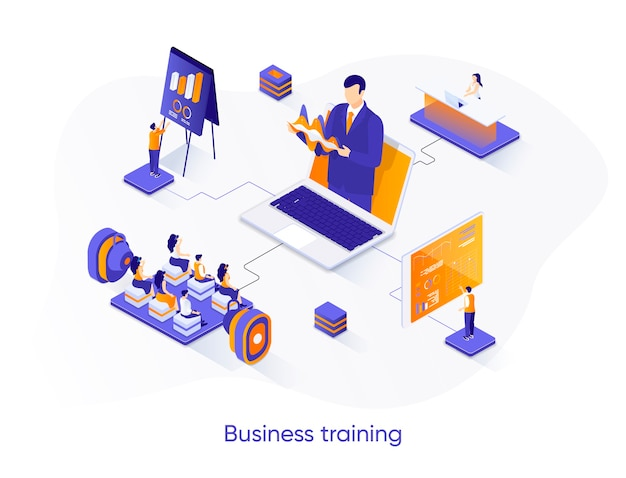 Ilustração isométrica de treinamento empresarial com personagens de pessoas