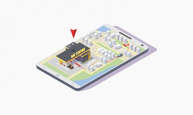 Ilustração isométrica de um assistente on-line de posto de gasolina no telefone aponta para o ponto de chegada do carro