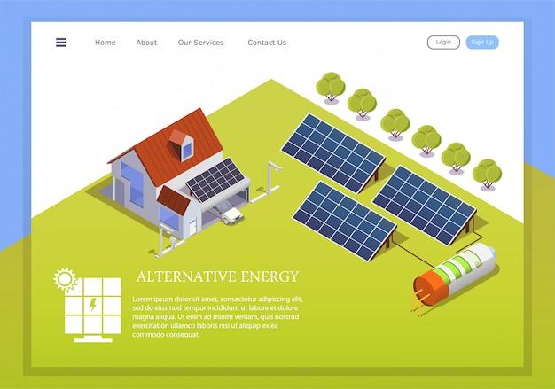 Ilustração isométrica de uma casa inteligente, alimentada por energia solar