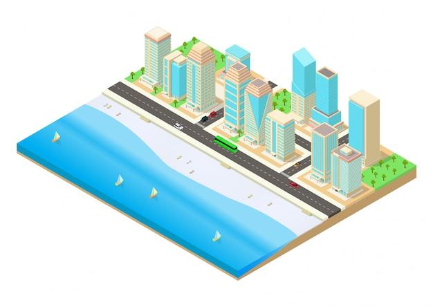 Ilustração isométrica de uma cidade à beira-mar