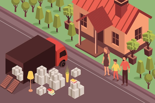 Ilustração isométrica de uma nova casa