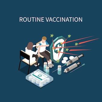 Ilustração isométrica de vacinação de rotina com ampolas de seringas médicas com médico de vacinação e paciente